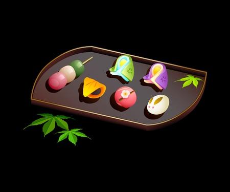 japanese dessert: Japanese sweets wagashi on plate isolated over black Illustration