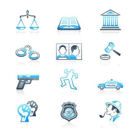 balanza justicia: Contorno de la ley y el orden conjunto de iconos en azul gris Vectores