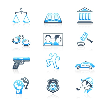 criminal justice: Law and order contour icon-set in blue-gray