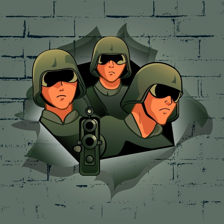 assault rifle: Soldiers break through the bricks wall Illustration