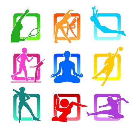 inline: Colorful icons with fitness people silhouettes Illustration