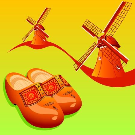 wind wheel: Scarpe in legno olandese (klompen) e mulini a vento Vettoriali
