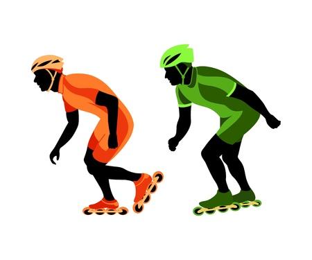 Siluetas de rodillos patinador en la carrera