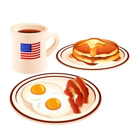 Huevos fritos, bacon, panqueques con miel y café