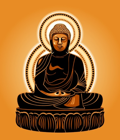 buddha lotus: Buddha Amitabha (The Buddha of Infinite Light) Illustration