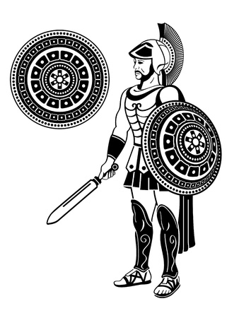 reconstrução: Roman warrior with sword and decorated shield Ilustração