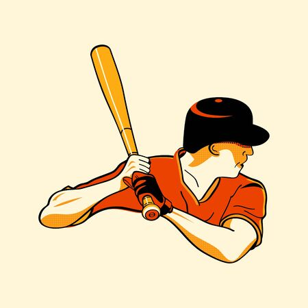 Baseball batter in retro three color print halftone pattern Vector