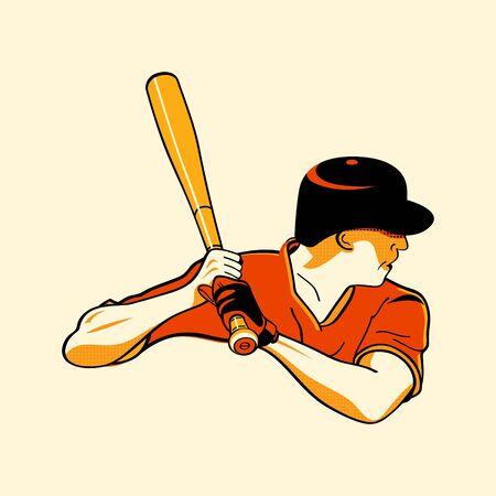 guante de beisbol: Bateador de béisbol en tres colores retro imprimir modelo de semitono Vectores