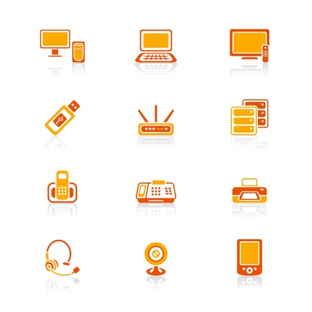Modern office electronics icon-set in red-orange colors Stock Vector - 9781747