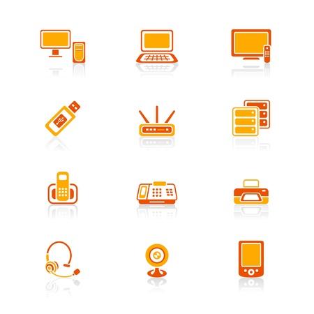 gadget: Modernes de l'�lectronique de bureau icone-ensemble dans des couleurs rouge-orange