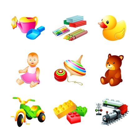 Colorful children toy, tool and model icons Vector