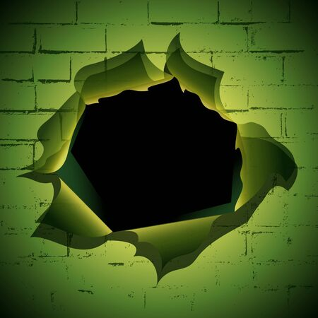 Torn hole at the brick wall background Vector