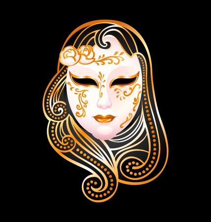 Venetian female carnival golden mask isolated over black Stock Vector - 9781959