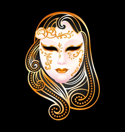 Venetian female carnival golden mask isolated over black Stock Vector - 9781959