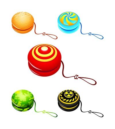 play yoyo: Colorful yo-yo with custom designs isolated