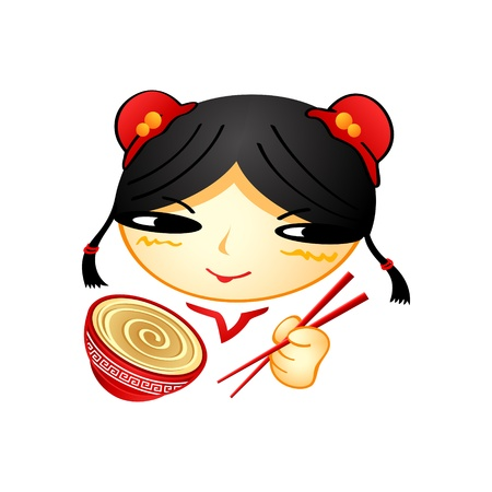 helpers: Alegre ni�a china con la taza de ramen y palillos