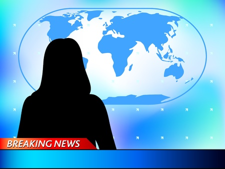news reporter: Breaking news tv background with woman reporter Illustration