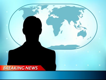host: Breaking news tv background with man reporter Illustration