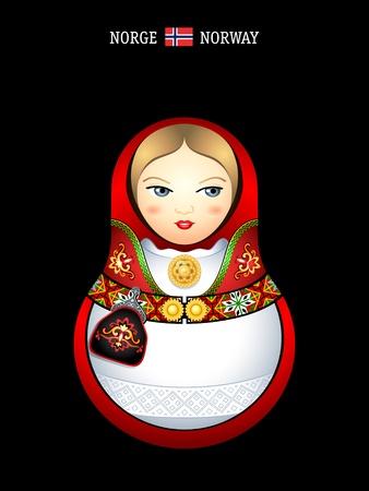 peasant woman: Matryoshkas of the World: norwegian girl in bunad dress