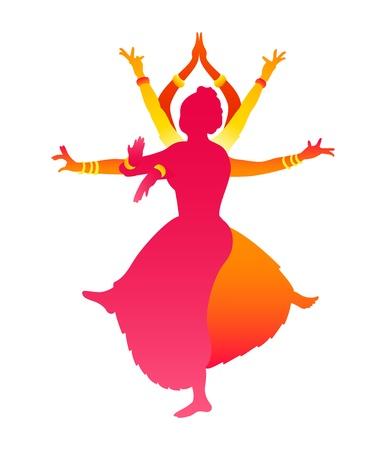 カラフルな古典的なインド女性舞踊バラタナティヤム  イラスト・ベクター素材