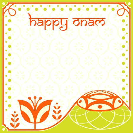 onam: Decorated greeting card for indian Onam holiday