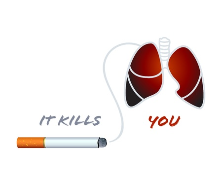 quit: Cigarette and smoker lungs anti-nicotine concept Illustration