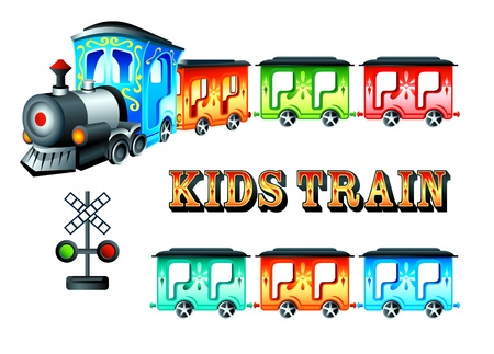 Decorated kids steam train with colorful cars Stock Vector - 9935296