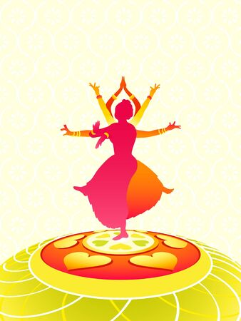 bharatanatyam dance: Dancing women greeting card for Onam holiday Illustration