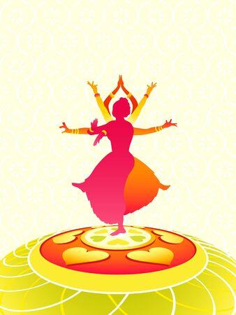 Tarjeta de felicitación de mujeres bailando para vacaciones Onam Vectores