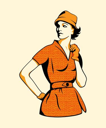 panama: Retro fashion girl in three color print halftone pattern Illustration