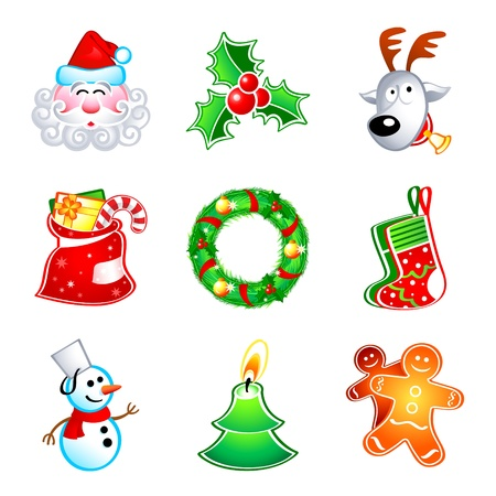 Colorful icons with traditional Christmas symbols Vector