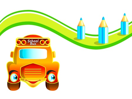 Cheerful school bus at the pencil road Vector
