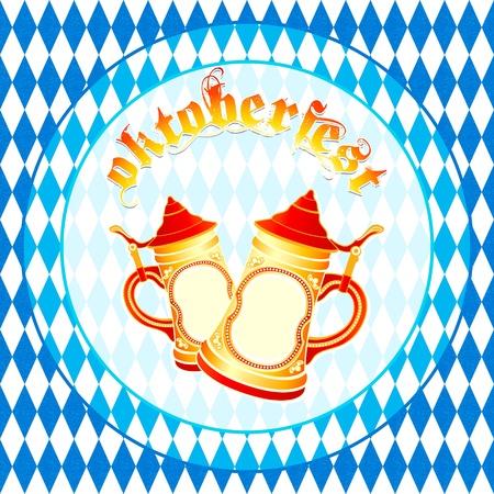 chope biere: Oktoberfest fond carr� avec des chopes de bi�re