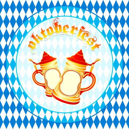 Oktoberfest square background with beer steins Illustration