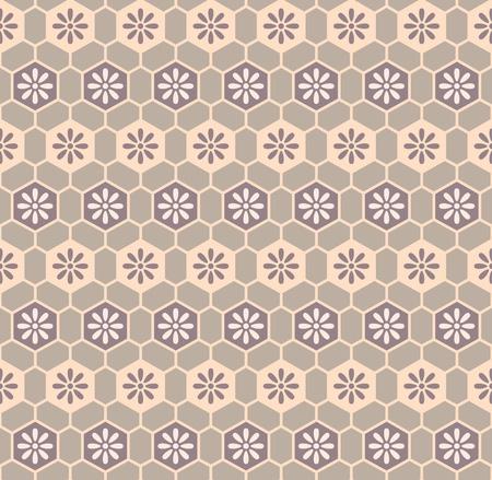 Floral cells retro kimono pattern Vector