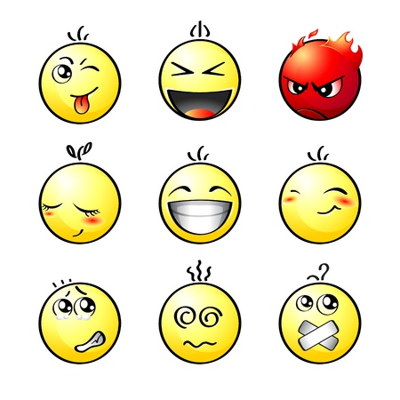 hush: Set of impish, shout, angry, lovely, laugh, smile, afraid, dizzy and silent smiley