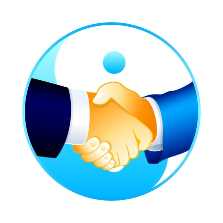 yinyang: Businessmen handshake over yin-yang symbol isolated