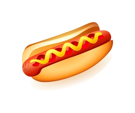 hotdog: Classic american fast food sausage with mustard and ketchup
