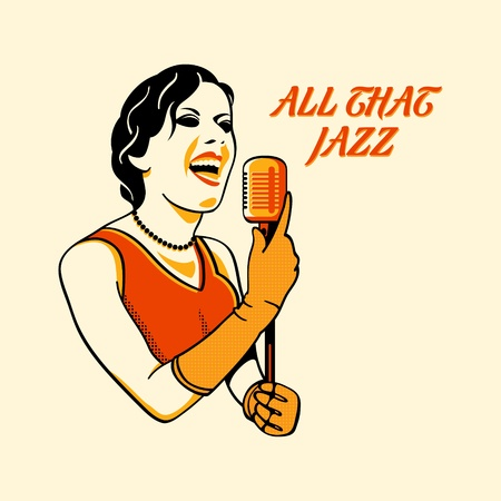 singer with microphone: Jazz singer in three color print halftone pattern