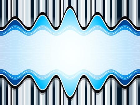Sound waves over stripes bluish background Vector