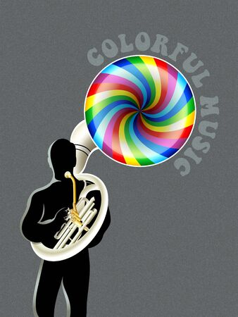 brass band: Sousaphone player silhouette with colorful music out Illustration
