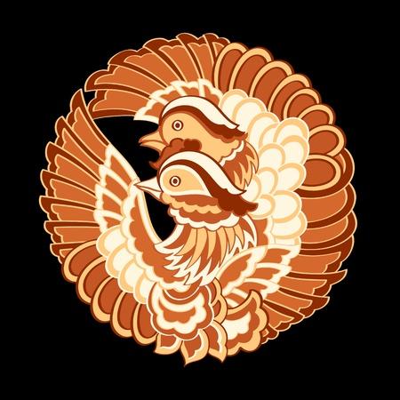 bandera japon: Tradicional kimono japonés patrón de las aves Vectores