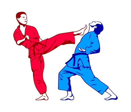 kick boxing: Karate kick and defense isolated in colors Illustration