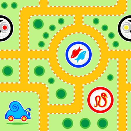 sumbol: Seamless kids snail-car road pattern with funny signs