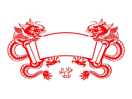 Chinese New Year red mighty dragons scroll isolated Vector