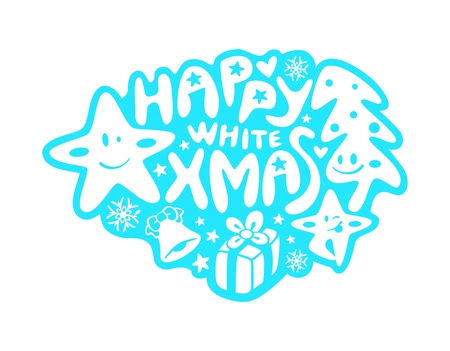 Happy graffiti or sticker with Christmas decoration and stars Vector