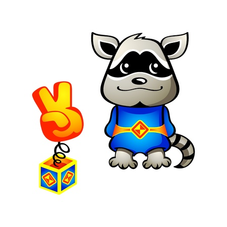 Cute tanuki (raccoon dog) superhero with his super weapon Vector