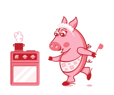 Cute pig housewife cooking in a hurry Stock Vector - 11070046