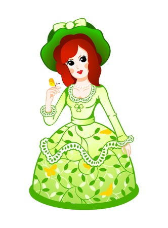 dolly: Cute retro doll in floral dress with butterfly Illustration