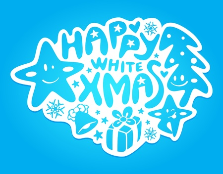 Graffiti or sticker with Christmas decoration and stars Vector